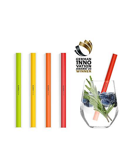 SLIDERSTRAW - Classico kurz - NEU Patentiert: Reinigung ohne Bürste! wiederverwendbare Strohhalme/Mehrweg Trinkhalme für Smoothies, Milchshakes, Cocktails sowie Geburtstag, Feiern & Party (bunt)