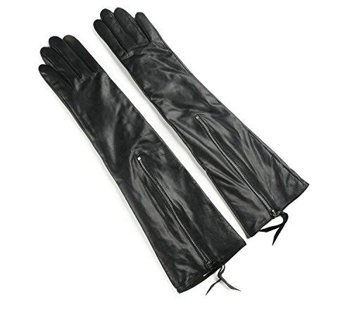 Ambesi Women's Touchscreen Opera Long Lambskin Leather Winter Gloves Black XL