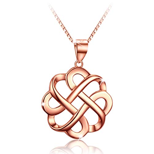 GDDX 925 Sterling Silver Good Luck Polished Rose Gold Celtic Knot Cross Pendant Necklace for Womens (Rose Gold)