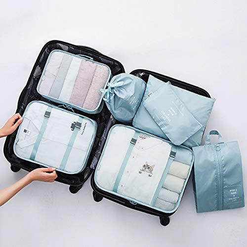 Cleave Wave Set met 7 dobbelstenen, toiletartikelen voor handbagage en waszak, met schoenenzak, waterdicht en stofdicht, SkyBlue