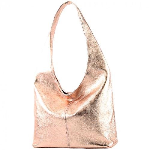 modamoda de - T150 - ital Schultertasche aus Leder Wildleder, Farbe:Rosé-Metallic