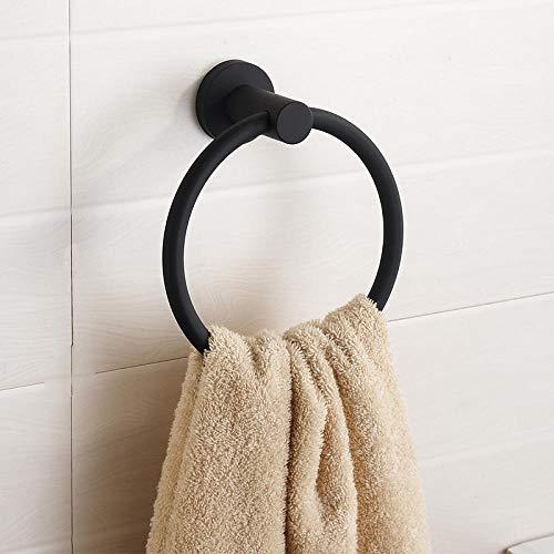Toallero anillo libre anillo perforado toalla toalla de mano anillo de toalla de baño nórdico dorado anillo oro-Acero inoxidable: negro perforado