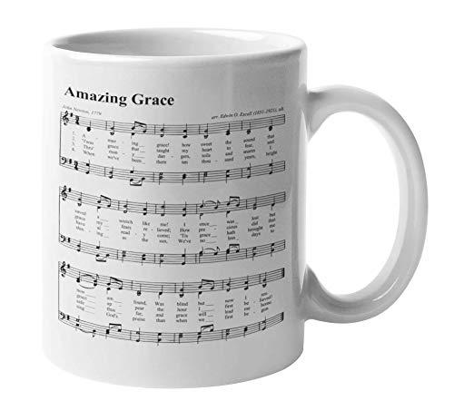 Amazing Grace Gospel Hymn Piano Sheet Music Print On A Coffee & Tea Mug For Christian, Pianist, Keyboardist,...