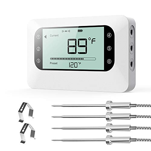 BFOUR Wireless Meat Grill Thermometer, Bluetooth Digital Wireless Meat Thermometer for Grilling Smoker BBQ Oven Kitchen Cooking with Stainless Probes, Phone App Remote Control