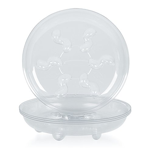 Idyllize 5 Pieces of 8 inch Clear Thick Plastic Heavy Duty Plant Sturdy Saucer Drip Trays for pots