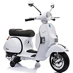 Licensed Vespa Scooter 12V - leather seat, USB,Aux and sd card slot, working headlights Real working Lights and sounds Added support wheels for extra safety Ideal for Ages 2-5 years and up to 55lbs