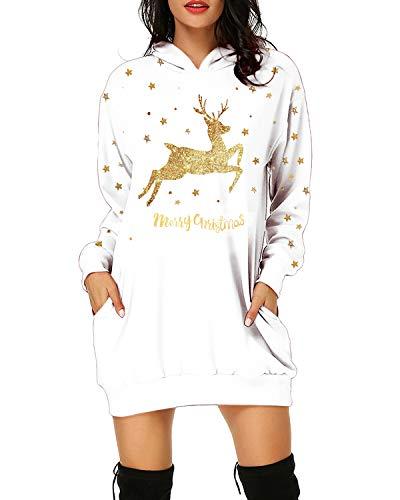 Auxo Damen Pullover Weihnachts Hoodies Kleid Langarm Sweatshirt Kapuzenpullover Weihnachtspullover Weiß Medium