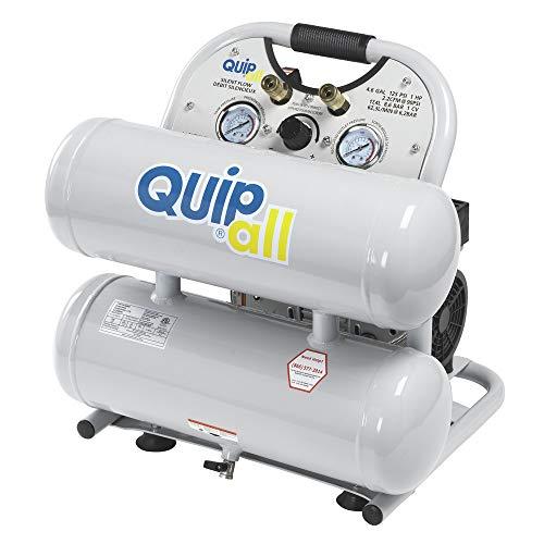 Quipall 4-1-SILTWN-AL Ultra Quiet 1 HP 4.6 Gallon Oil-Free Twin Stack Air Compressor