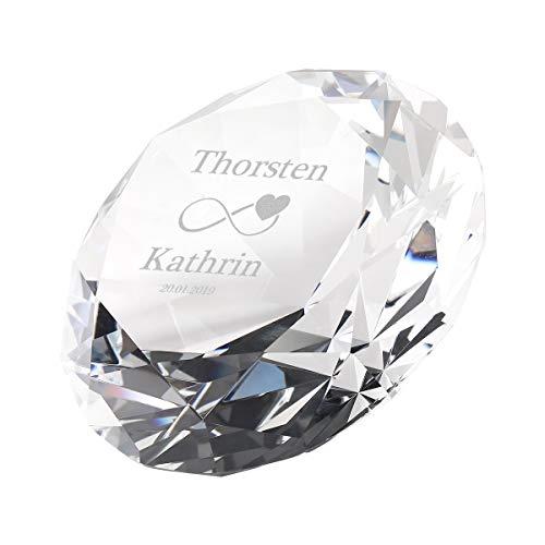 polar-effekt Dekostein Diamant aus Glas - ideales Hochzeitsgeschenk für Brautpaare - funkelnder Diamant - hochwertiges Geschenk - Motiv Unendlich