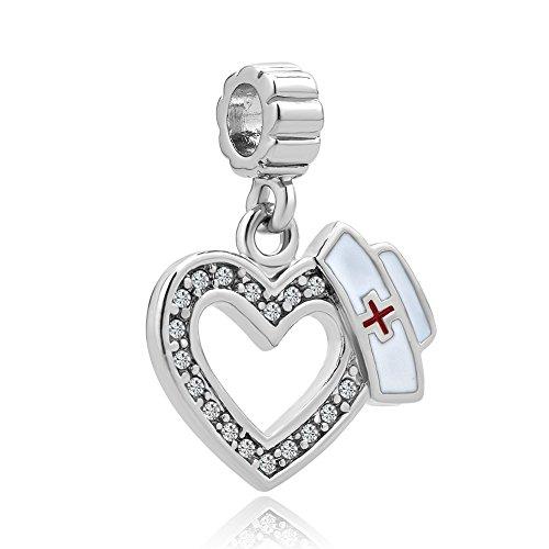 Korliya Nurse Hat Charm Dangle Heart Bead for Bracelet