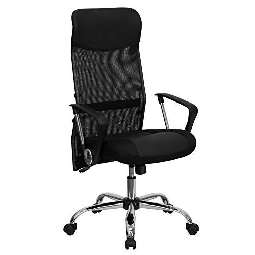 Flash Furniture High Back Black Leather and Mesh Swivel Task...