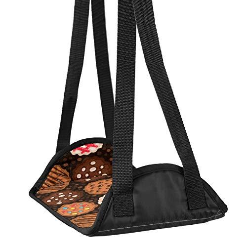 Preisvergleich Produktbild Flugzeug-Fuß-Hängematte Schreibtisch Fuß-Hängematte Reise Fußstütze Home Zubehör Beinstütze Schokolade Chip Cookies Muster 01 Reise Fußstütze