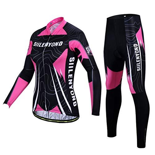 OD-B Damen Fahrradtrikot Trikot Set, Outdoor-Sport Fahrradbekleidung Langärmlige Fahrradhemden 3D Gepolsterte Hose, Schnelltrocknend Atmungsaktiv Reitsportbekleidung Anzüge,Pant,S