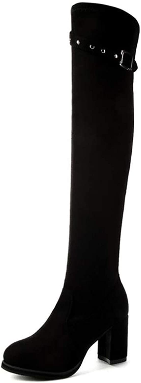 Pit4tk Women's Suede Over The Knee Boots Chunky Heels String Riding Women's shoes