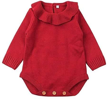 Baby Kleding, Winter pasgeboren baby's Breien met lange mouwen Jumpsuit Romper, Maat: 100cm, Newborn Essentials aijia