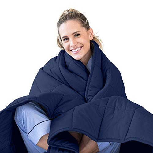 LUNA Adult Weighted Blanket | 25 lbs - 80x87 - King Size Bed | 100% Oeko-Tex Certified Cooling Cotton & Premium Glass Beads | Designed in USA | Heavy Cool Weight for Hot & Cold Sleepers | Navy