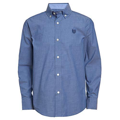 Chaps Boys' Big Long Sleeve Solid Button-Down Woven Shirt, Denim Blue, X-Large (18/20)