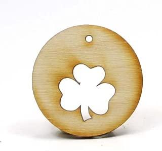 Mylittlewoodshop - Pkg of 6 - Circle Cutout with 3/4 Shamrock - 1-1/2 x 1-1/2 x 1/8 inch unfinished wood(-CC-CIRSHM01-6)