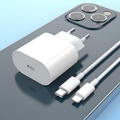 20W Rapido Caricatore USB C e 1m Cavo, Caricabatterie PD Quick Charge Power Delivery 3.0 Alimentatore Presa Spina Ricarica Adattatore Compatibile per Phone 12/12 Mini/12 Pro/12 Pro Max 11, Pad Pro