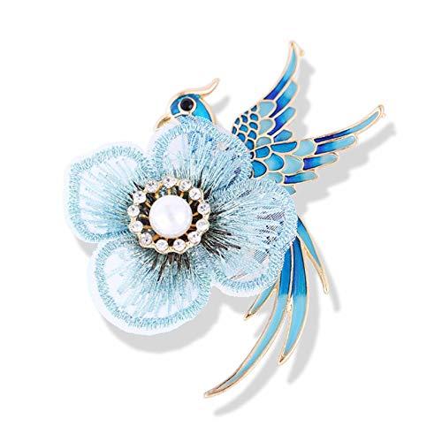 CYPZ Broche Bordado a Mano Azul púrpura Flor Perla Broche Esmalte Abrigo Sombrero Bolsa decoración Broche 2 Piezas