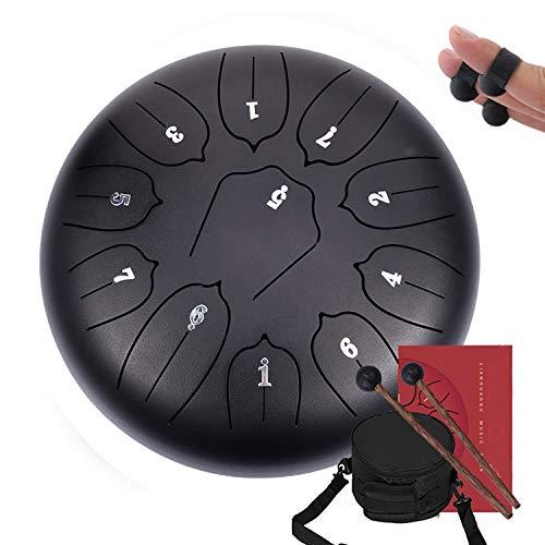 Tambour Handpan, Careslong Steel Tongue Drums à 11 Tons Mini Instrument à Percussion en Acier de 10 Pouces Tambour à Main avec Sac, Livre de Musique- Idéal Pour le Camping, le Yoga, la Méditation