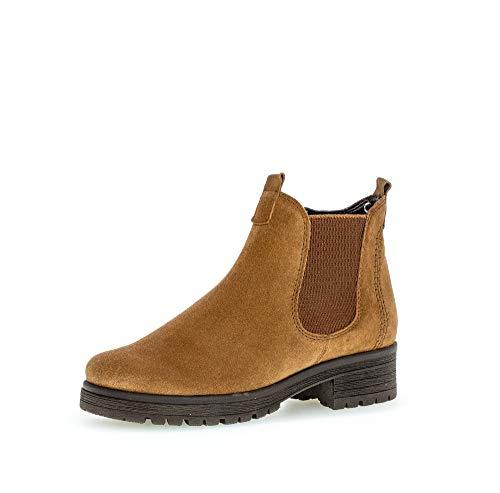 Gabor Damen Stiefeletten, Frauen Chelsea Boots,Comfort-Mehrweite,Reißverschluss,Übergrößen,Optifit- Wechselfußbett,Cognac (Micro),42 EU / 8 UK