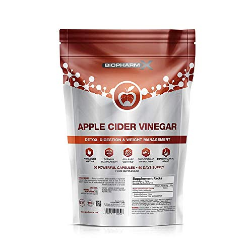 Pure Certified Apple Cider Vinegar Capsules with Mother (1000mg / 60 Capsules) High Strength Raw Unfiltered Apple Cider Vinegar