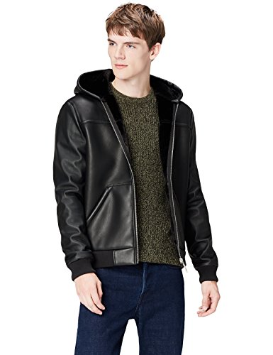 Amazon-Marke: find. Men's Leather Look Hooded Shearling Jacket, Schwarz, XL, Label: XL