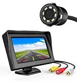 FABTEC 4.3 Dashboard TFT LCD Screen Rear View Monitor with 8 LED Night Vision Car Reverse Camera