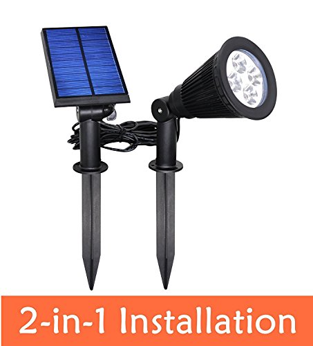 [New Upgraded]YINGHAO Solar Outdoor Indoor Spotlight 2 in 1 Installation IP44 Waterproof Separated Panel and Light, Outdoor Landscape Lighting Waterproof Solar Wall Light Security Night Light, 2 Pack