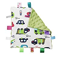 Inchant Boy Tag Security Blanket - Baby Car Plush Comforter Taggy Blankies, Pale Green Textured Underside