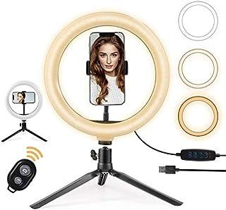 "OneAmg Anillo de Luz LED Fotografia de Escritorio, 10"" Aro de Luz 3 Colores 10 Brillos Regulables Control Remoto Bluetooth..."