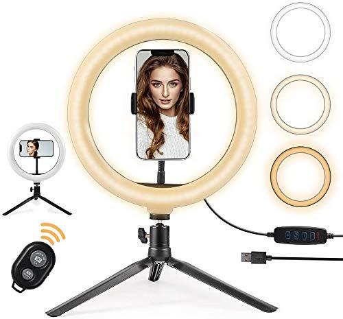 OneAmg Anillo de Luz LED Fotografia de Escritorio, 10' Aro de Luz 3 Colores 10 Brillos Regulables Control Remoto Bluetooth, Trípode con Soporte Giratorio de teléfono para Maquillaje, Fotografia etc.