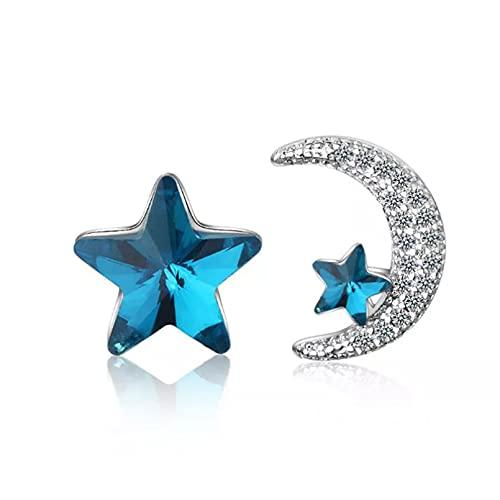 WLLLTY Pendientes asimétricos de Plata de Ley 925 con Forma de Estrella y Luna,joyería de Regalo Popular para Mujeres y niñas