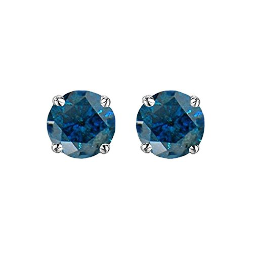 Dazzlingrock Collection 0.50 Carat (ctw) Round Cut Blue Diamond Ladies Stud Earrings 1/2 CT, Sterling Silver