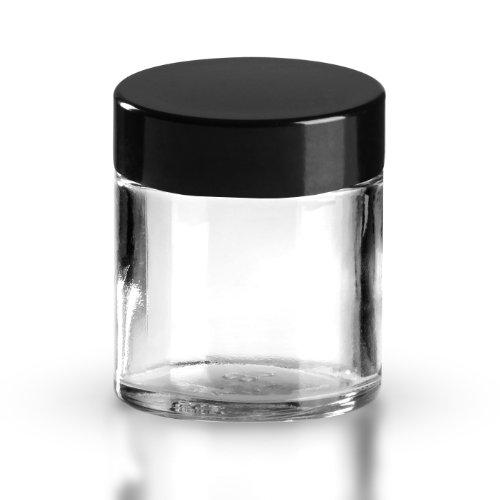 5x Cristal Tiegel transparente cristal 30ml/pomada Tiegel/Crema Tiegel Incluye rosca Baquelita Negro 38mm/R3