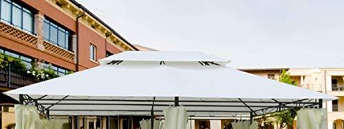 Megashopitalia Telo di Ricambio per Gazebo 3x4 con Aggancio a Sporgenza Top Telo Ecrù con Airvent