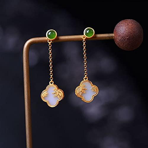 YANGYUE Pendientes de trébol de Jade Blanco de Hetian Natural, diseñador Retro de Estilo Chino, Encanto Artesanal de Oro Antiguo único, joyería de Plata para Mujer