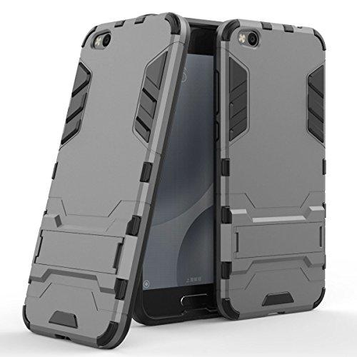 Funda para Xiaomi Mi 5C (5,15 Pulgadas) 2 en 1 Híbrida Rugged Armor Case Choque Absorción Protección Dual Layer Bumper Carcasa con Pata de Cabra (Gris)