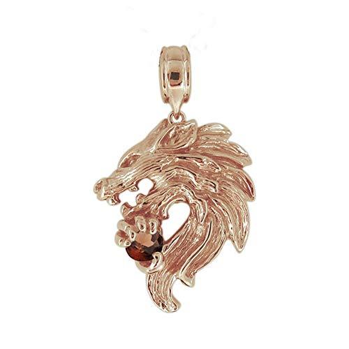 [プレジュール]ピンクゴールド 18金 メンズ オオカミ ペンダントトップ 狼 ウルフ 天然石 ガーネット