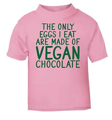 Flox T-Shirt créatif pour bébé Only Eggs I Eat Vegan Chocolat - Rose - 2 Ans