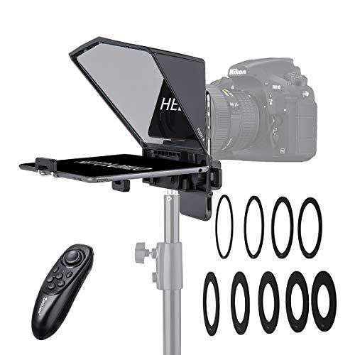 Desview T2 Teleprompter Kit Con Control Remoto, 8 Tallas Anillo Adaptador de Lente, Para Smartphone/ Tableta/ DSLR Cámara de Vídeo Grabación Entrevista Presentación