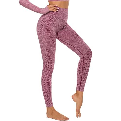 QTJY Pantalones de Yoga elásticos y de Secado rápido para Mujeres, Pantalones de Fitness para Levantar la Cadera y Cintura Alta, Pantalones Deportivos para Correr al Aire Libre E XL