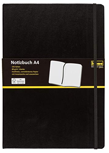 Idena 10053 Notizbuch FSC-Mix, A4, blanko, Papier cremefarben, 96 Blatt, 80 g/m²,...