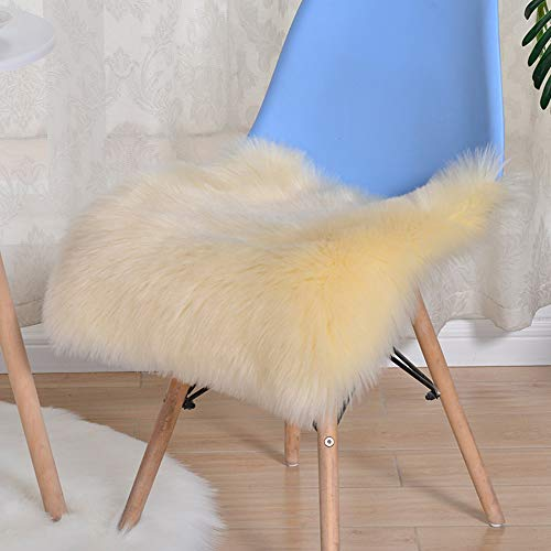 Trayosin Sitzkissen,Faux Lammfell Schaffell Sitzauflage Longhair Fell Optik Nachahmung Wolle Sofa Matte (Hellgelb, 45 * 45cm)