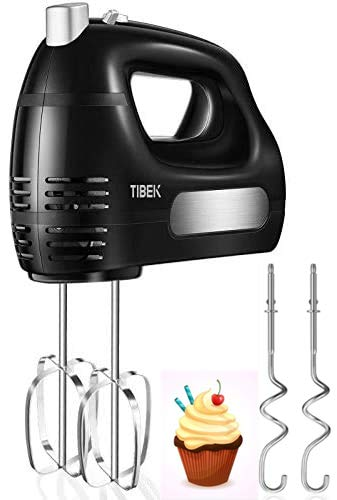 Hand Mixer Electric 6 Speed Mode, TIBEK Hand Held Mixer 300W Ultra Power with Turbo Button and 4 Stainless Steel Attachments (2 Beaters and 2 Dough Hooks), One Button Eject Design