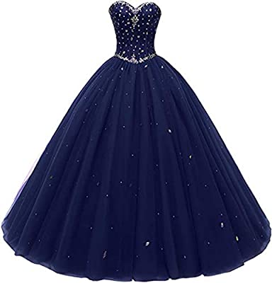 Likedpage Women's Sweetheart Ball Gown Tulle Quinceanera Dresses Prom Dress (Custom Size, Navy)