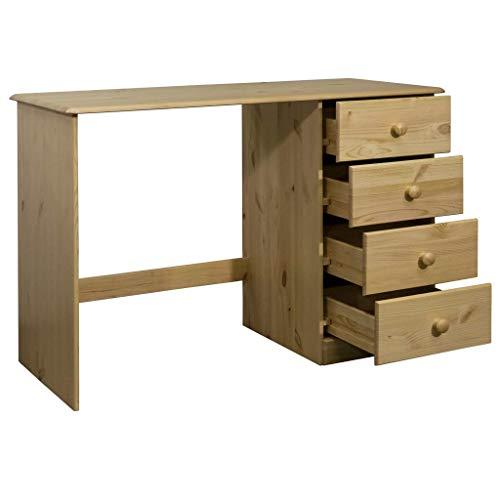 Dioche Escritorio para ordenador, estilo rústico, 110 x 50 x 74 cm, mesa de oficina con 4 cajones, madera de pino maciza con barniz transparente