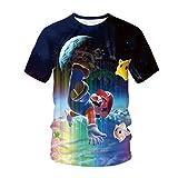 Super Mario Short Sleeve,3D Classic Cartoon Games T-Shirts for Boys Girl Tops Kids Clothing Tshirt (C,L)