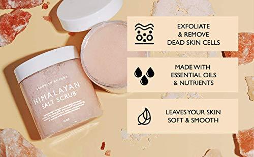 Brooklyn Botany Himalayan Salt Exfoliating Body Scrub & Foot Scrub - All Natural Exfoliator, Moisturizes With Sweet Almond Oil - Scrub Away Dead Skin - Great Gifts For Women - 10 oz